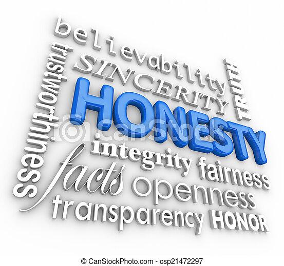 mot, honnêteté, collage, virtues, réputation, sincérité, intégrité, 3d - csp21472297