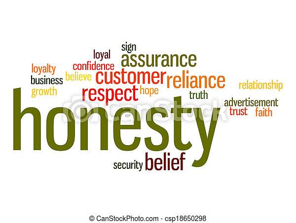 mot, honnêteté, nuage - csp18650298
