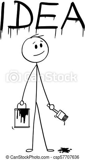 mot, idée, pinceau, homme affaires, peinture, dessin animé, boîte - csp57707636
