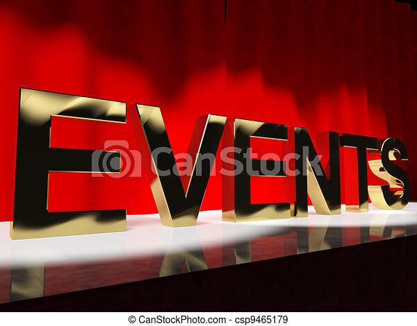 mot, parti, projection, evénements, ordre du jour, festivals, concerts, étape - csp9465179