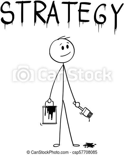 mot, stratégie, pinceau, homme affaires, peinture, dessin animé, boîte - csp57708085