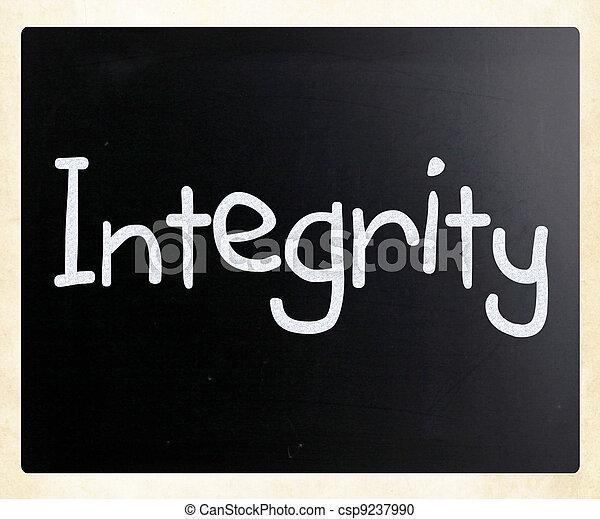 """mot, tableau noir, craie, blanc, """"integrity"""", manuscrit - csp9237990"""