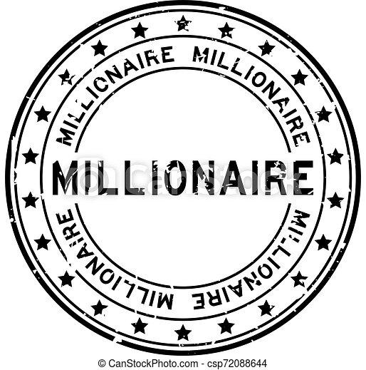 mot, timbre, millionnaire, caoutchouc, arrière-plan noir, cachet, grunge, blanc, squre - csp72088644