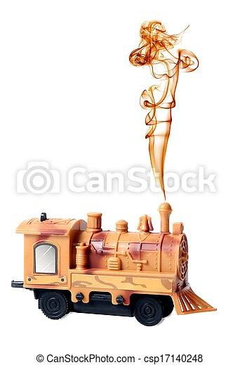 moteur, jouet, locomotive, fumée, vapeur - csp17140248