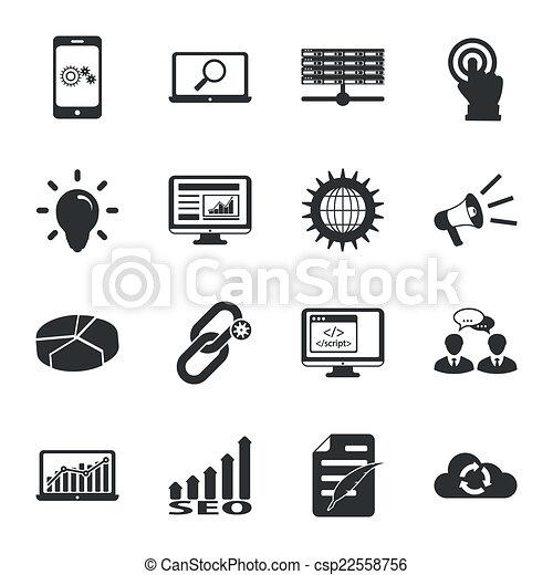 moteur, plat, recherche, ensemble, icônes, optimization, noir, blanc - csp22558756