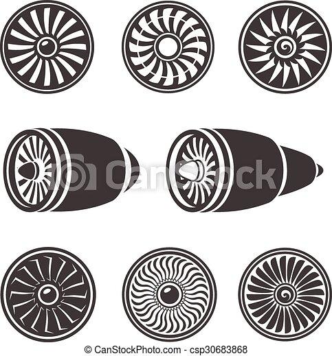 moteur, silhouettes, technologie, avion, ensemble, turbines, aircraft., icônes - csp30683868