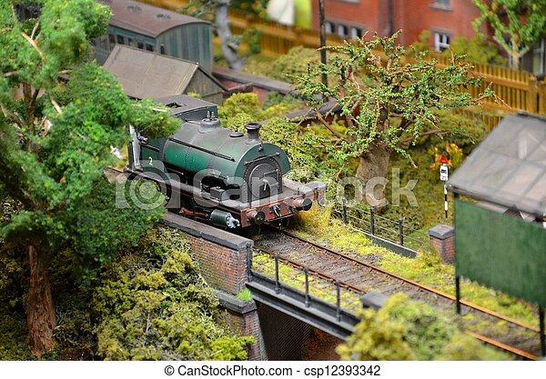 moteur, train modèle, vert, vapeur - csp12393342