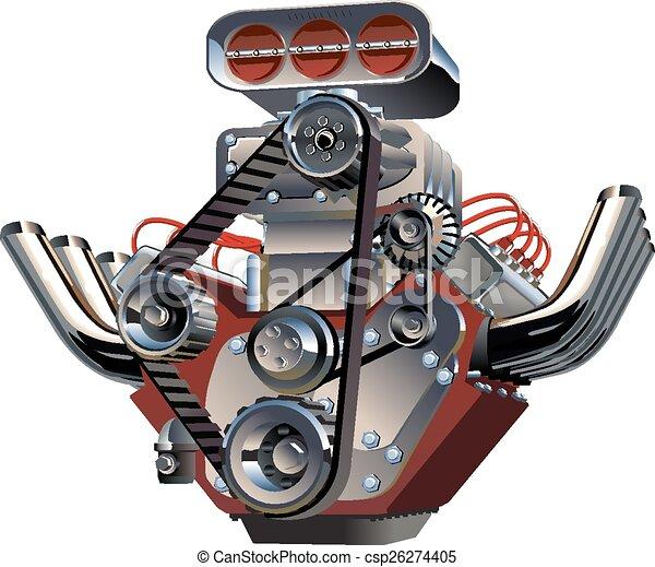 moteur, turbo, vecteur, dessin animé - csp26274405