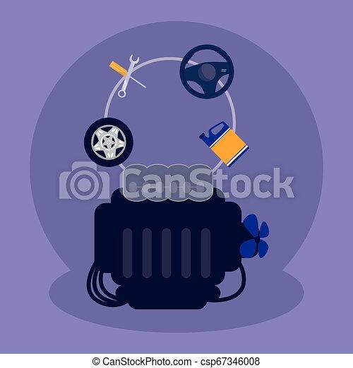 moteur, voiture, atelier, mécanicien - csp67346008