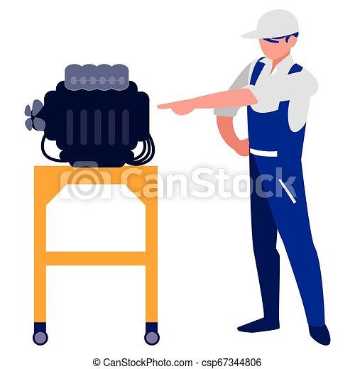 moteur, voiture, ouvrier, mécanicien - csp67344806