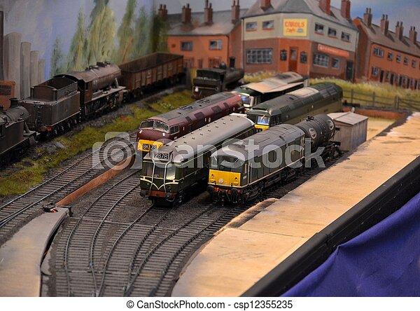 moteurs, modèle, garé, train, rails - csp12355235