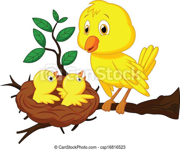 vector illustration of mother and baby bird cartoon rh canstockphoto com baby bird clipart free baby bird clipart