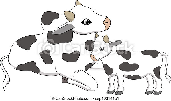 Vector Illustration Of Mother And Baby Cow Cartoon