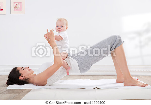 mother and baby gymnastics - csp14299400