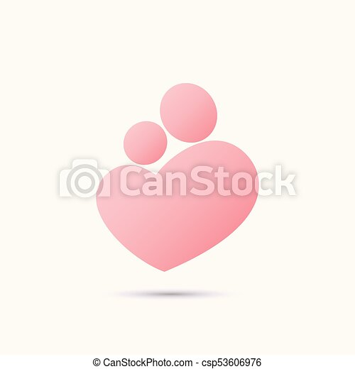 Mother and baby heart symbol - csp53606976