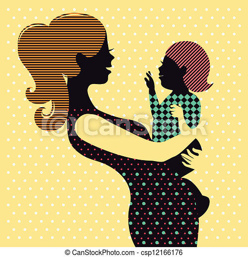Mother and baby in retro style - csp12166176