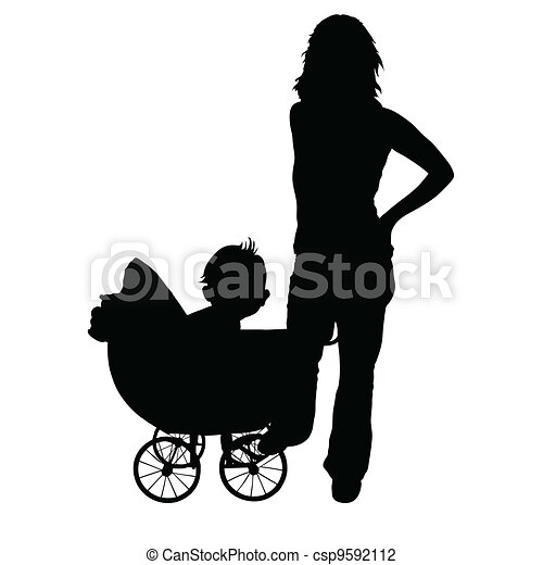 mother and baby in the pram - csp9592112
