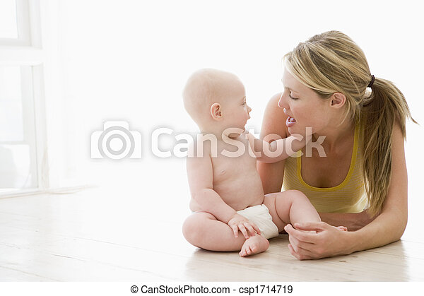 Mother and baby indoors - csp1714719