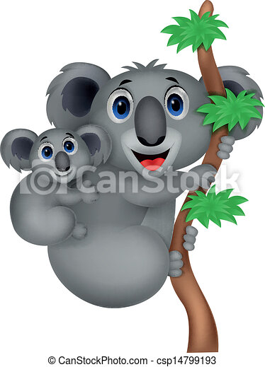 Mother and baby koala cartoon - csp14799193