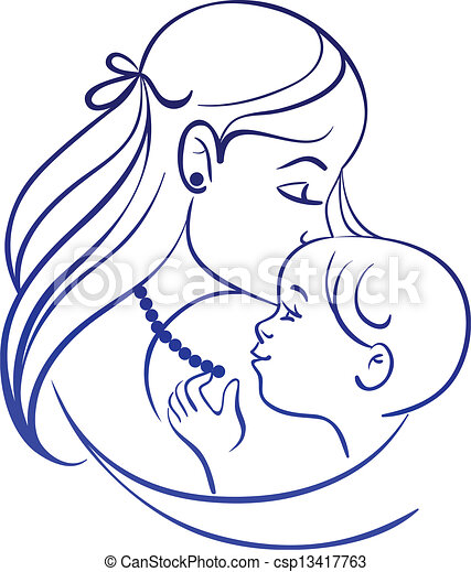 Mother and baby. Linear silhouette of mother and her child - csp13417763