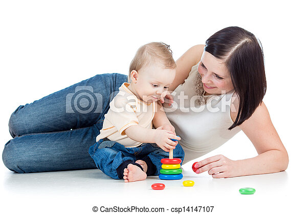 mother and baby play pyramid toy - csp14147107