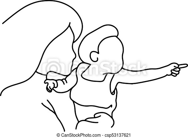 Mother And Baby Pointing To The Right Vector Illustration Black Lines
