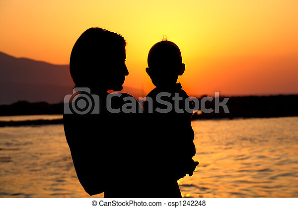 mother and baby silhouette - csp1242248