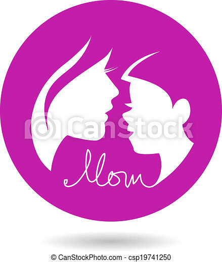 Mother and baby silhouettes. Card of Happy Mother's Day - csp19741250
