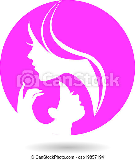 Mother and baby silhouettes. Card of Happy Mother's Day - csp19857194