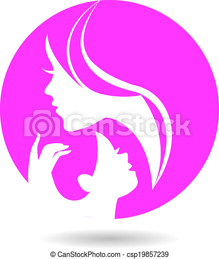 Mother and baby silhouettes. Card of Happy Mother's Day - csp19857239
