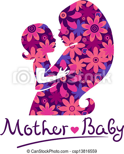 Mother and baby silhouettes - csp13816559