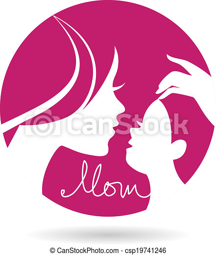 Mother and baby silhouettes icon. Card of Happy Mother's Day - csp19741246