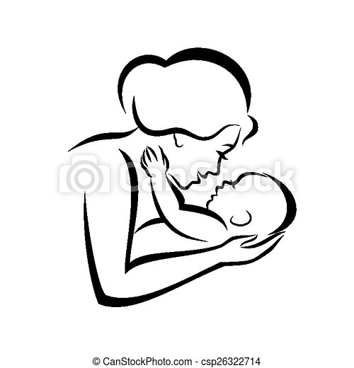 mother and baby stylized vector symbol - csp26322714