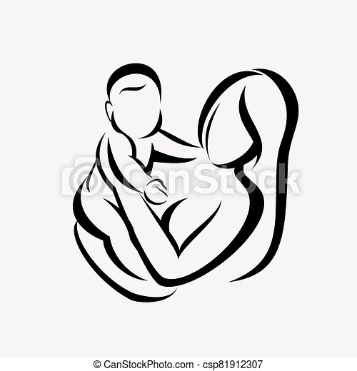 mother and baby stylized vector symbol - csp81912307