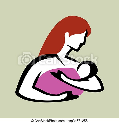 mother and baby symbol vector - csp34571255