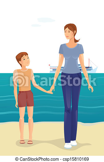 Mother and boy on the beach - csp15810169
