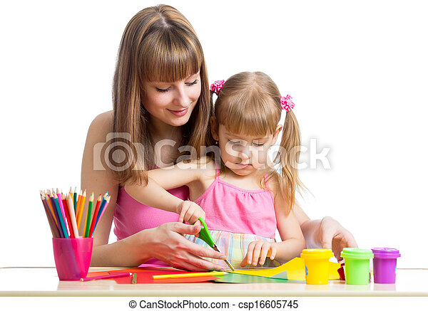 Mother and child draw and cut together - csp16605745