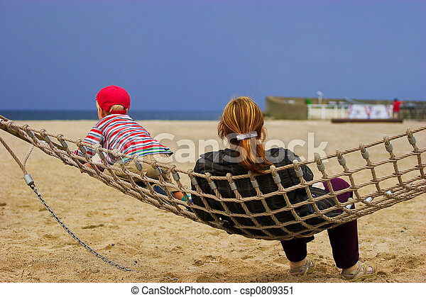 Mother and child in hammock - csp0809351