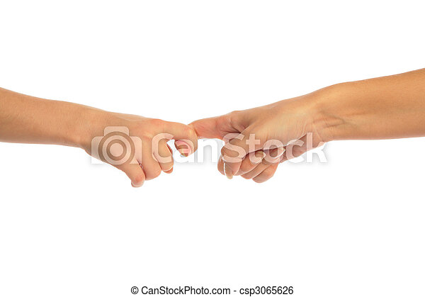 Mother and child touching by fingers - csp3065626