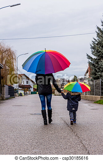 mother and child with umbrella - csp30185616