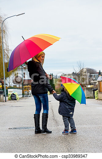 mother and child with umbrella - csp33989347