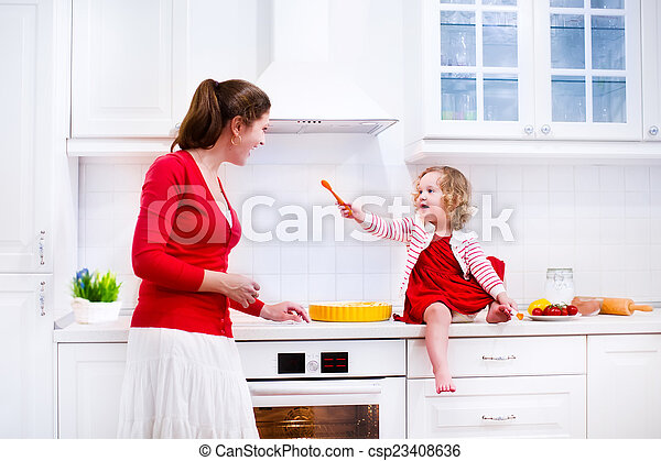 Mother and daughter baking a pie - csp23408636