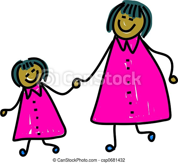 happy asian mother and daughter holding hands toddler art clip rh canstockphoto com mom and daughter clipart mother and daughter clipart black and white