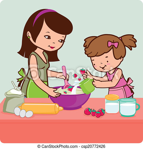 Mother and daughter cooking - csp20772426