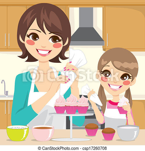 Mother and Daughter Decorating Cupcakes - csp17260708