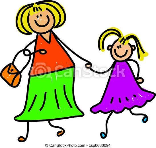 happy mother and daughter holding hands toddler art series drawing rh canstockphoto com mother and daughter clipart black and white mother and daughter cooking clipart