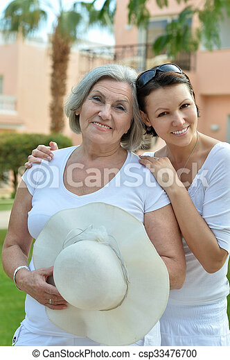 Mother and daughter in  park - csp33476700