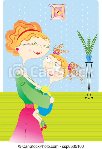 Mother and daughter in room.Vector image - csp6535100
