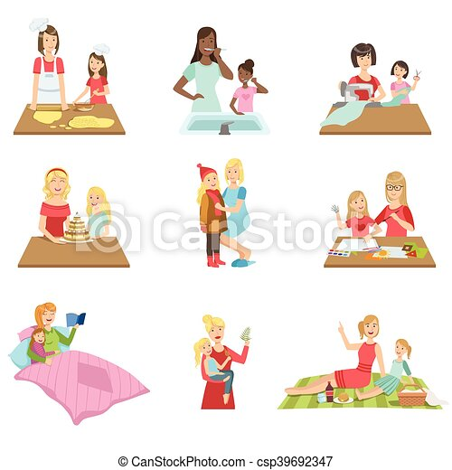Mother And Daughter Passing Time Together Set Of Illustrations - csp39692347