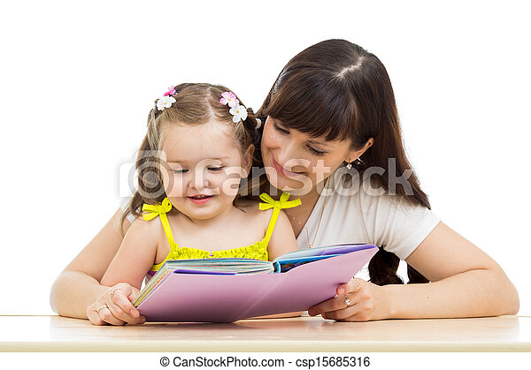 mother and daughter reading a book - csp15685316